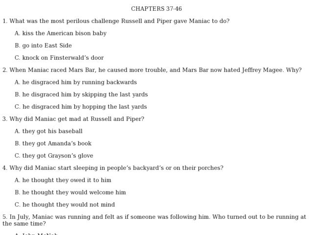 Maniac Magee: Quick Check Quiz Chapters 37-46 4th - 6th Grade ...