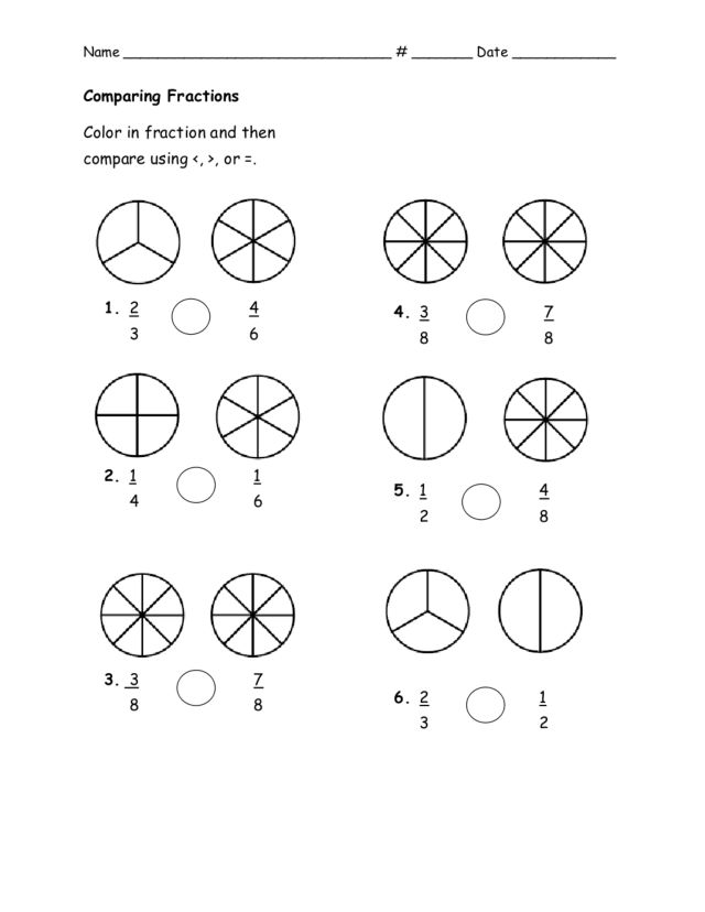 Comparing Fractions: Color the Wedges Worksheet for 3rd