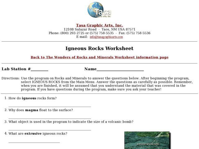 Igneous Rocks Worksheet Worksheet For 4th 8th Grade
