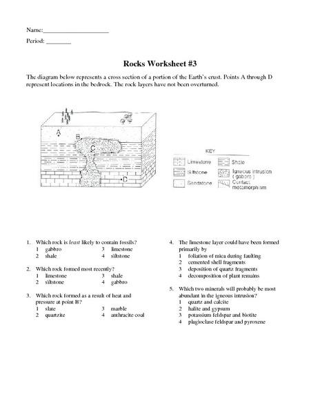 Rocks Worksheet 3 Worksheet For 6th 9th Grade Lesson