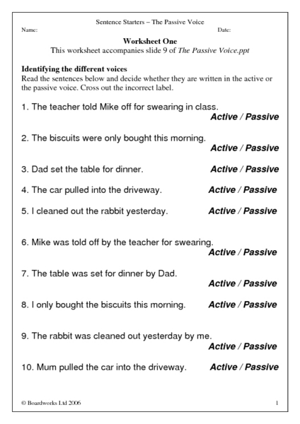 Sentence Starters The Passive Voice Worksheet For 4th 8th Grade