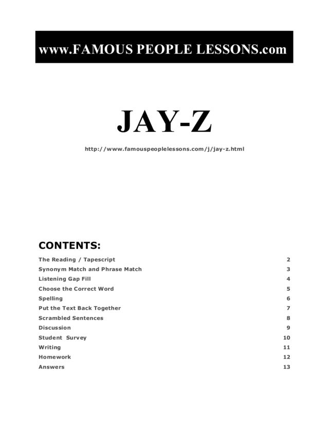 Jay-Z: Famous People, ELL Assignment Graphic Organizer for