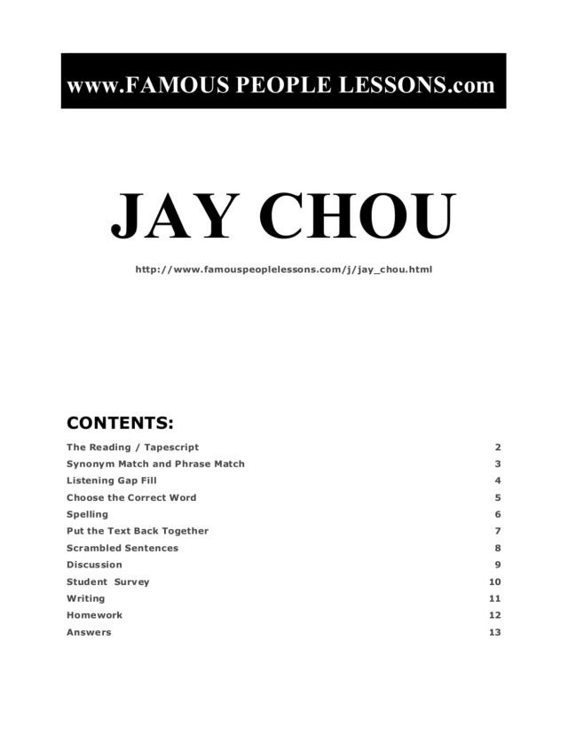 Jay Chou: Famous People (ELL Assignment) Graphic Organizer