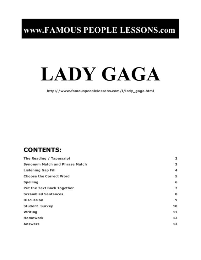 Lady Gaga: Famous People, ELL Assignment Graphic Organizer