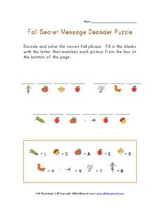 fall secret message decoder puzzle worksheet for kindergarten 1st grade lesson planet. Black Bedroom Furniture Sets. Home Design Ideas
