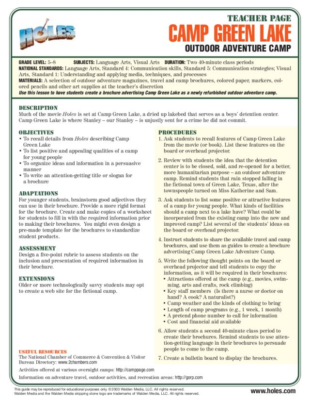 Camp Green Lake Lesson Plan For 5th 8th Grade Lesson Planet