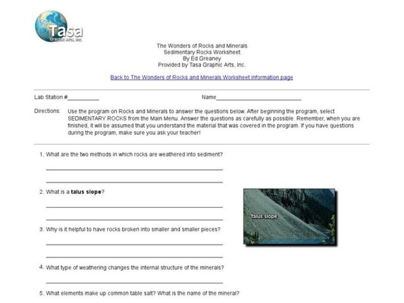 Sedimentary Rocks Worksheet Interactive For 4th 8th