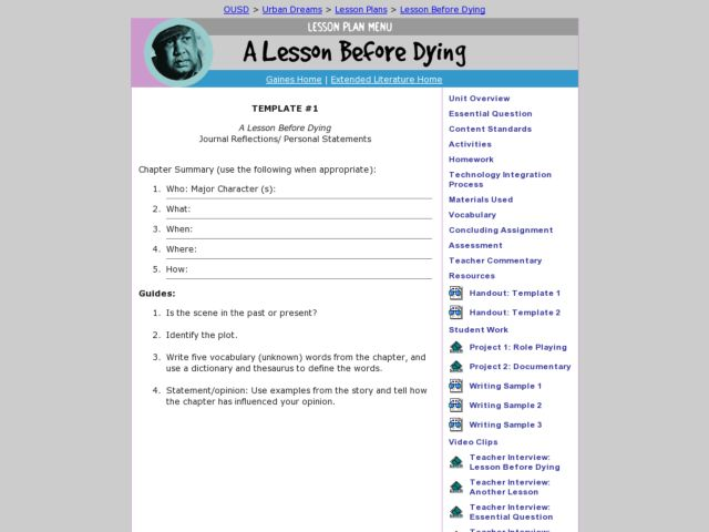 template a lesson before dying journal reflections personal template 1 a lesson before dying journal reflections personal statements 9th grade worksheet lesson planet