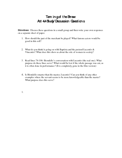 Taming of the Shrew: Act 4.4, Study/Discussion Questions Worksheet