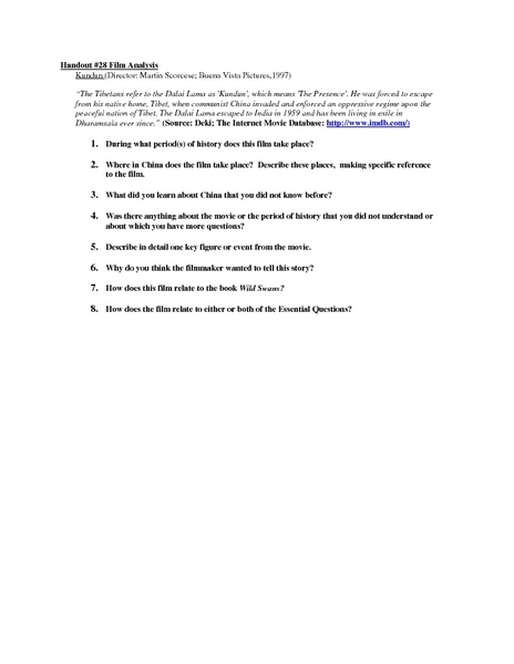 Film Studies Lesson Plans Worksheets Lesson Planet