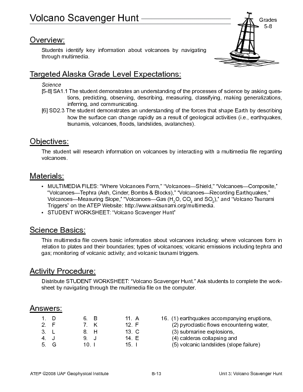 Volcano Scavenger Hunt Lesson Plan