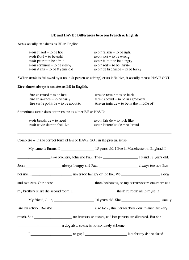 be and have  differences between french and english worksheet for 6th