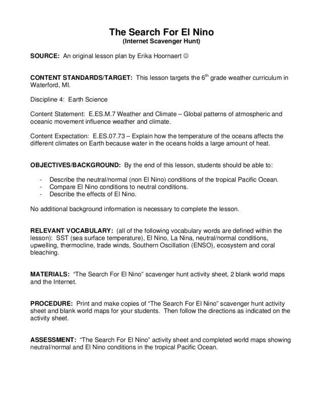 The Search for El Nino 6th Grade Lesson Plan – El Nino Worksheet