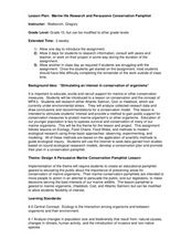 Marine Life Research and Persuasive Conservation Pamphlet Lesson Plan