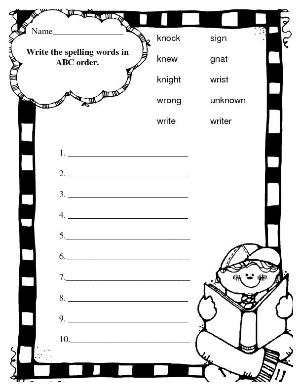 spelling abc order silent letters worksheet for 2nd grade lesson planet. Black Bedroom Furniture Sets. Home Design Ideas