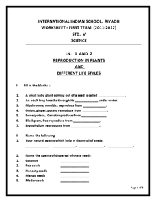 international indian school reproduction in plants and different lifestyles worksheet for 4th. Black Bedroom Furniture Sets. Home Design Ideas