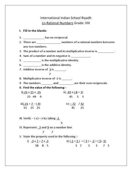 34 Rational Numbers Worksheet Grade 8 - Free Worksheet Spreadsheet
