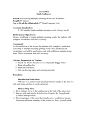 Amelia Bedelia Goes Camping Lesson Plans & Worksheets