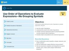 Use Order of Operations to Evaluate Expressions—No Grouping Symbols Lesson Plan