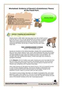 Worksheet: Evidence of Darwin's Evolutionary Theory at the Fossil Park Worksheet
