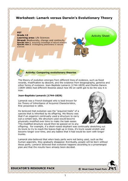 Worksheet: Lamarck versus Darwin's Evolutionary Theory Writing ...