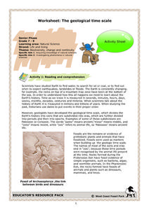 Worksheet: The Geological Time Scale Worksheet