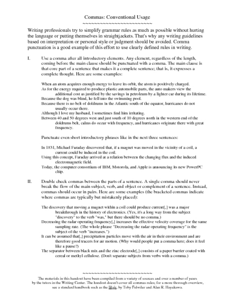Commas: Conventional Usage Worksheet