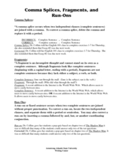 Comma Splices, Fragments, and Run-Ons 7th - 12th Grade Worksheet ...