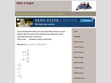 TAKS Math Quiz-Substitution of Values in Polynomials Interactive