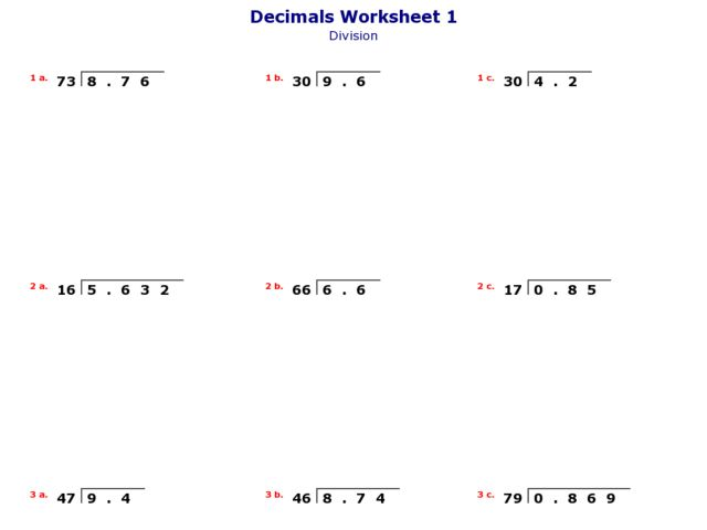 Divide Decimals By 2-Digit Whole Numbers Worksheet For 3rd - 5th Grade  Lesson Planet