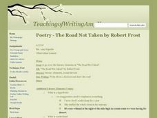 Poetry - The Road Not Taken by Robert Frost Lesson Plan