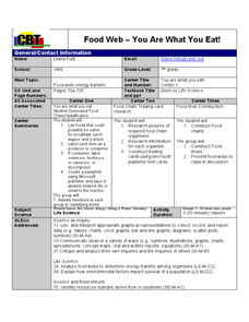 Food Web-You Are What You Eat!! Lesson Plan