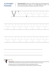 alphabet parade tracing letter v worksheet for pre k 1st grade lesson planet. Black Bedroom Furniture Sets. Home Design Ideas
