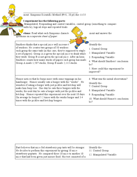 Variables With The Simpsons Worksheet for 6th Grade | Lesson Planet