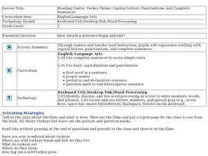 Reading Center: Turkey Theme: Capital Letters, Punctuation and Complete Sentences Lesson Plan