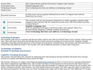 The Country Mouse and the City Mouse - Compare and Contrast Lesson Plan