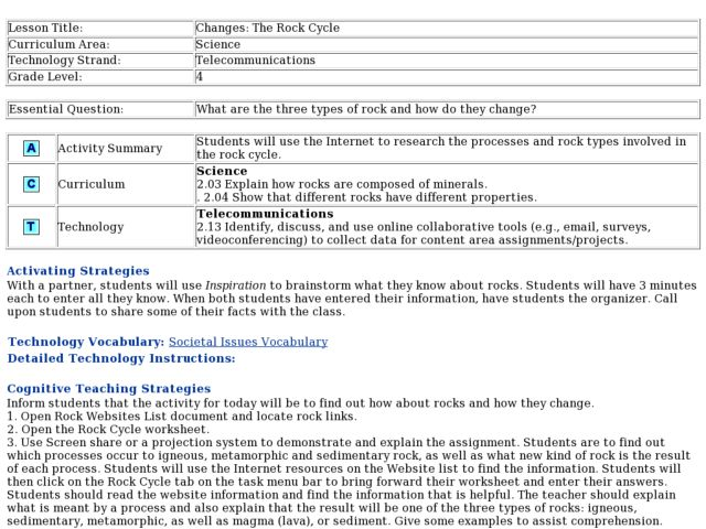 Changes The Rock Cycle Lesson Plan