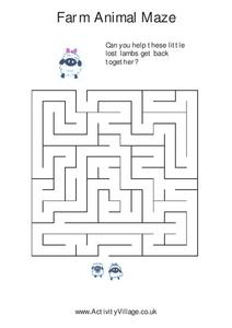 Farm Animal Maze Worksheet