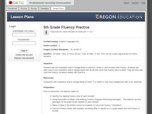 Fifth Grade Fluency Practice Lesson Plan