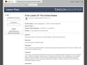 First Ladies of The United States Lesson Plan