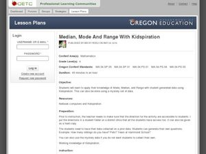 Median, Mode and Range with Kidspiration Lesson Plan