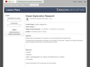 Ocean Exploration Research Lesson Plan