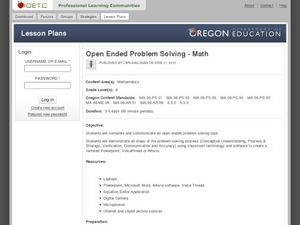 Open-Ended Problem Solving - Math Lesson Plan