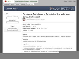 Persuasive Techniques in Advertising and Make Your Own Advertisement Lesson Plan