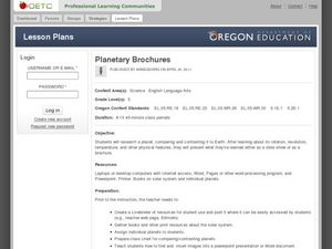 Planetary Brochures Lesson Plan
