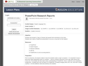 PowerPoint Research Reports Lesson Plan