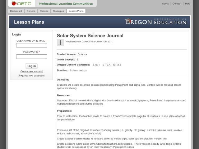 Solar System Science Journal Lesson Plan