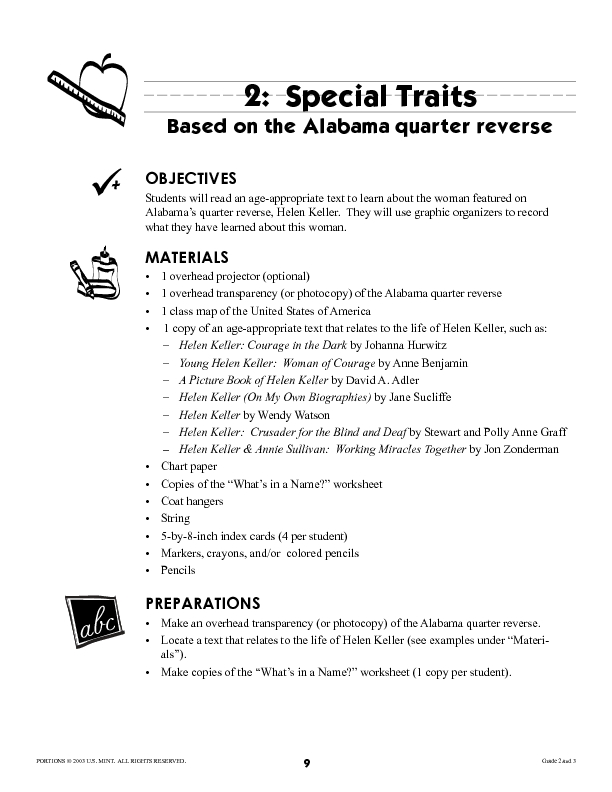 Special Traits: Alabama quarter reverse Lesson Plan