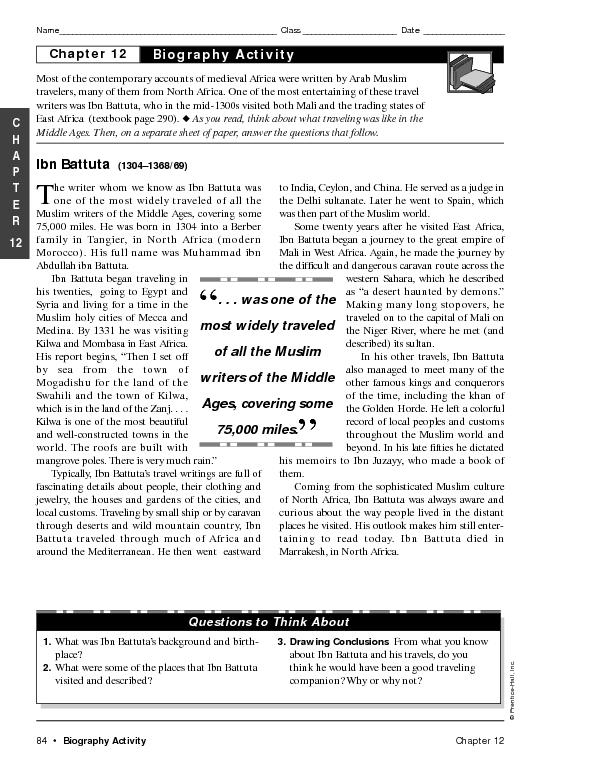 Ibn Battuta Lesson Plans Worksheets Reviewed By Teachers