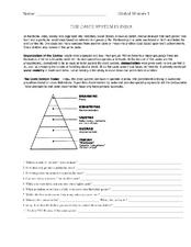 Reading Comprehension - Caste System | Mr. Proehl&#39-s Social Studies ...